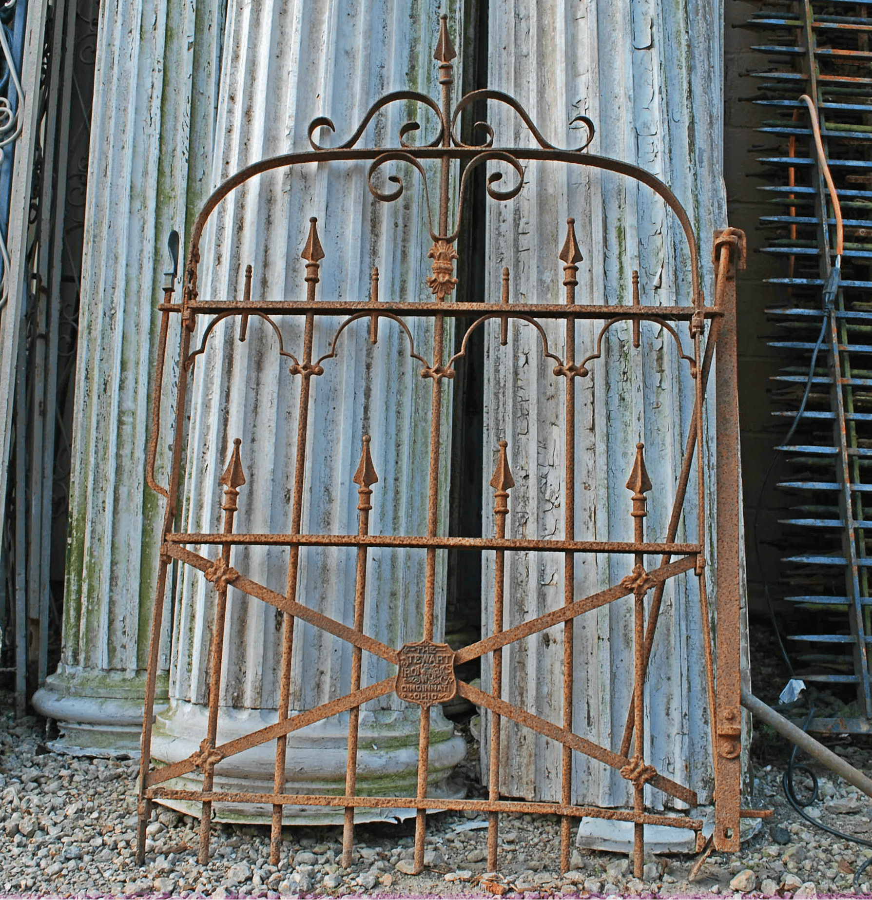 Wrought Iron Gates: Antique Stewart Iron Works Wrought Iron Gate